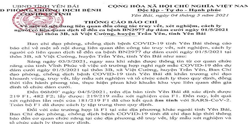 Đã có kết quả xét nghiệm SARS-CoV-2 với người liên quan đến ca bệnh BN2977 ở Yên Bái