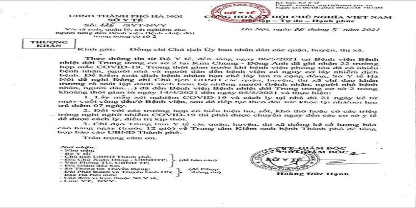 CDC Hà Nội: 42 ca mắc COVID-19 tại BV Bệnh Nhiệt đới TƯ cơ sở 2