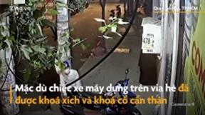 TP.HCM: Xe máy khoá 2 lớp vẫn bị trộm cắt xích trong tích tắc