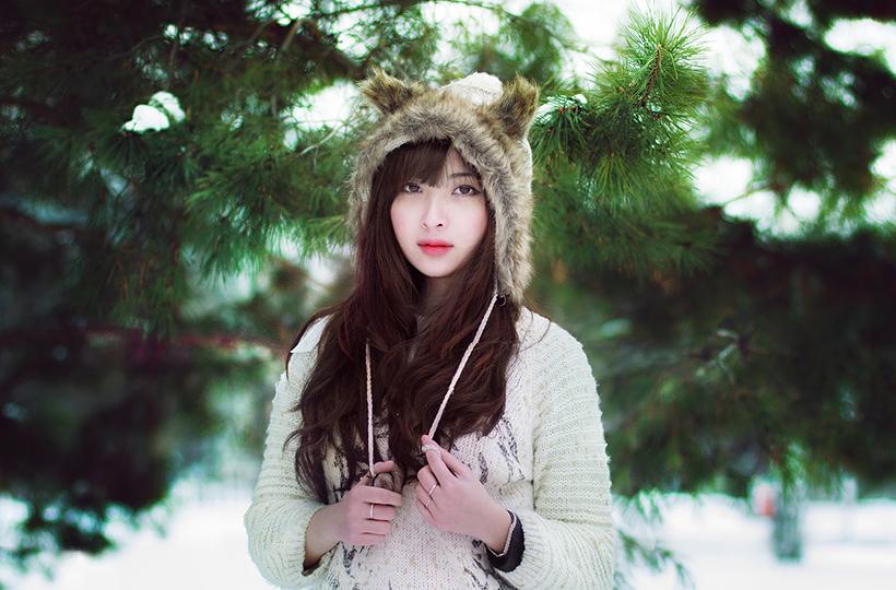 Thiếu nữ đội mũ đáng yêu